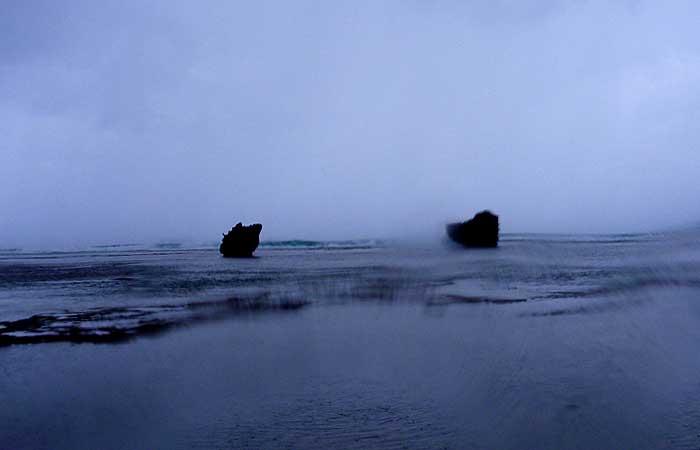 台風直後の真栄田ビーチ