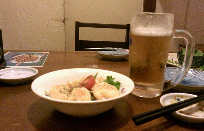 ビールとエビマヨ